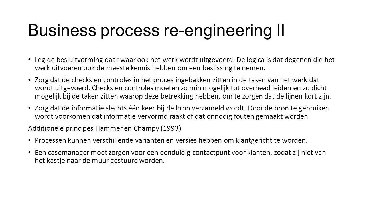 Business process re-engineering II