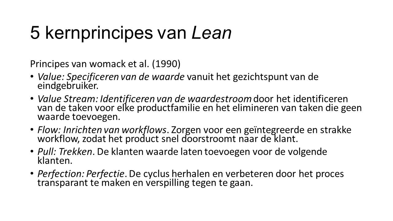 5 kernprincipes van Lean