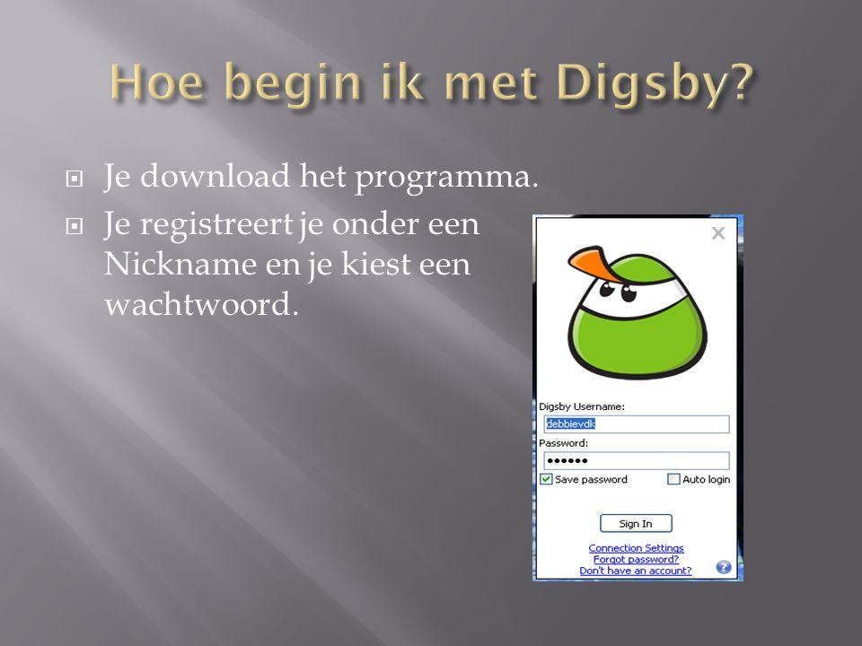 Hoe begin ik met Digsby Je download het programma.
