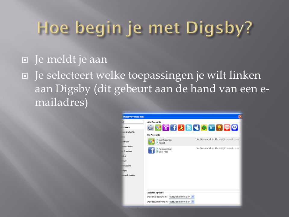 Hoe begin je met Digsby Je meldt je aan
