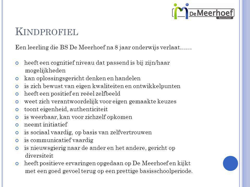 Kindprofiel Een leerling die BS De Meerhoef na 8 jaar onderwijs verlaat…… heeft een cognitief niveau dat passend is bij zijn/haar.