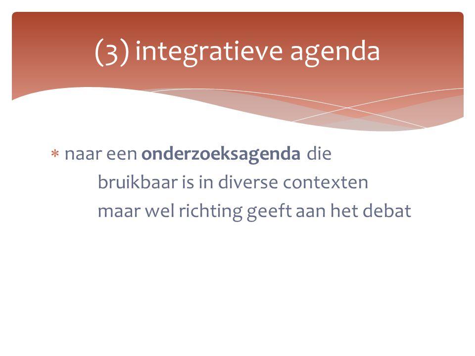 (3) integratieve agenda