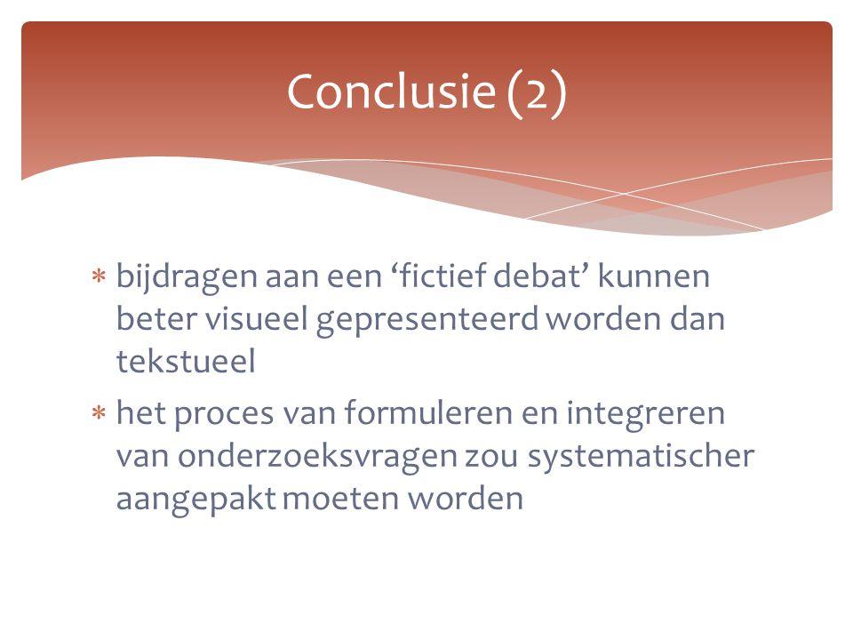 Conclusie (2) bijdragen aan een 'fictief debat' kunnen beter visueel gepresenteerd worden dan tekstueel.
