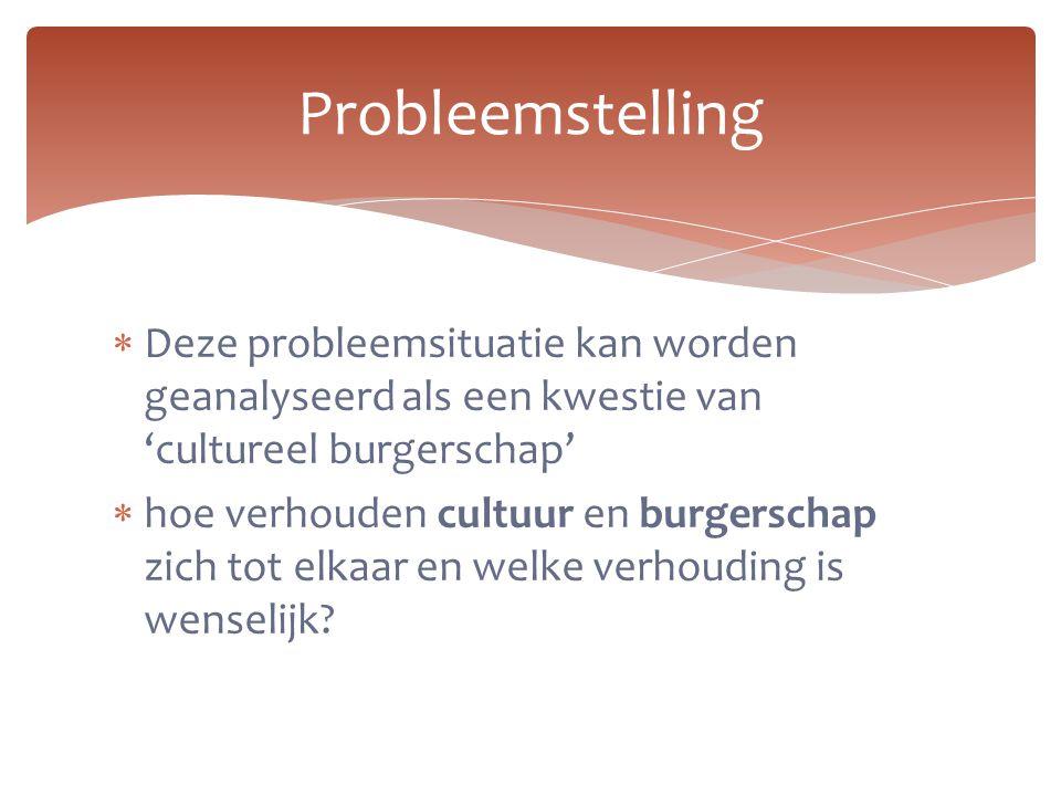 Probleemstelling Deze probleemsituatie kan worden geanalyseerd als een kwestie van 'cultureel burgerschap'