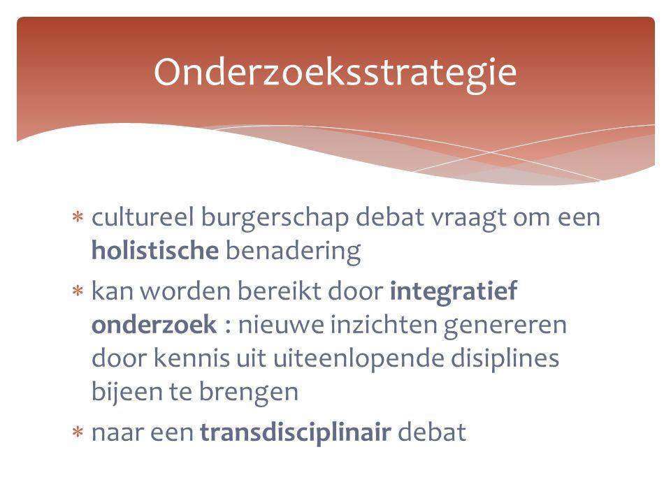 Onderzoeksstrategie cultureel burgerschap debat vraagt om een holistische benadering.