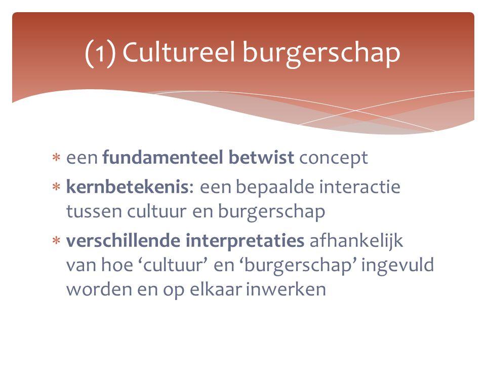 (1) Cultureel burgerschap