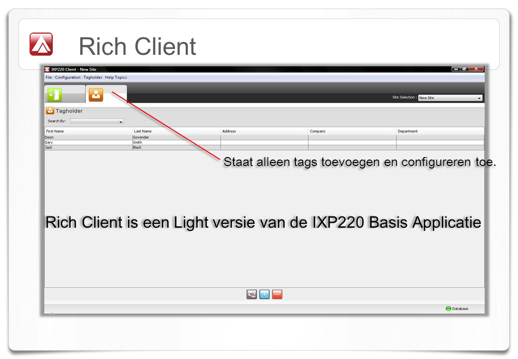 Rich Client is een Light versie van de IXP220 Basis Applicatie