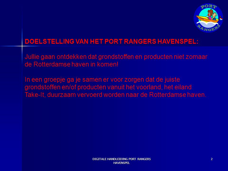 DIGITALE HANDLEIDING PORT RANGERS HAVENSPEL