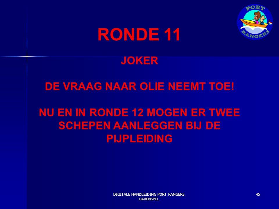RONDE 11 JOKER DE VRAAG NAAR OLIE NEEMT TOE!