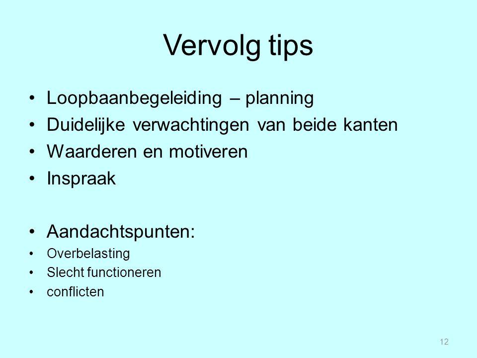 Vervolg tips Loopbaanbegeleiding – planning