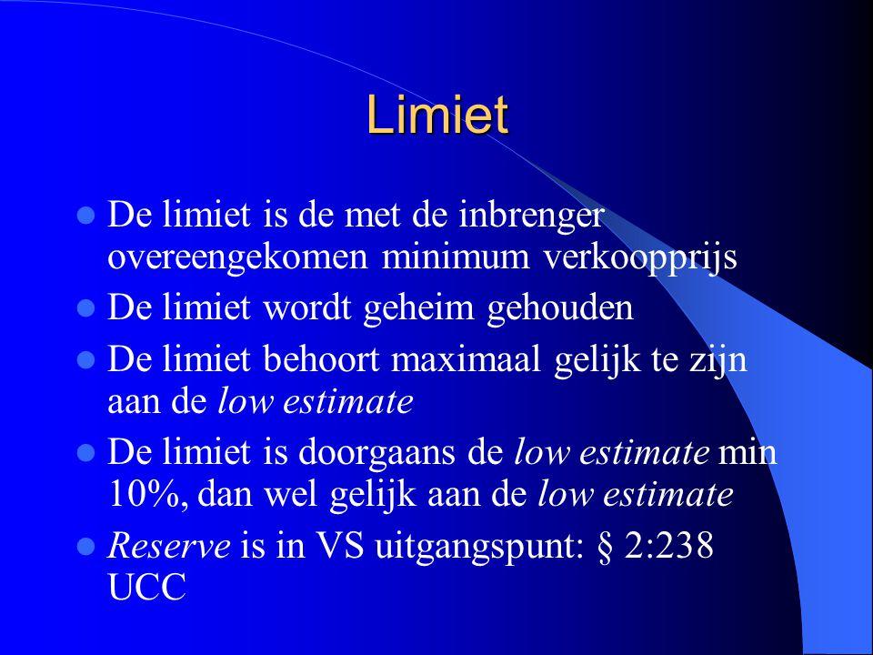Limiet De limiet is de met de inbrenger overeengekomen minimum verkoopprijs. De limiet wordt geheim gehouden.