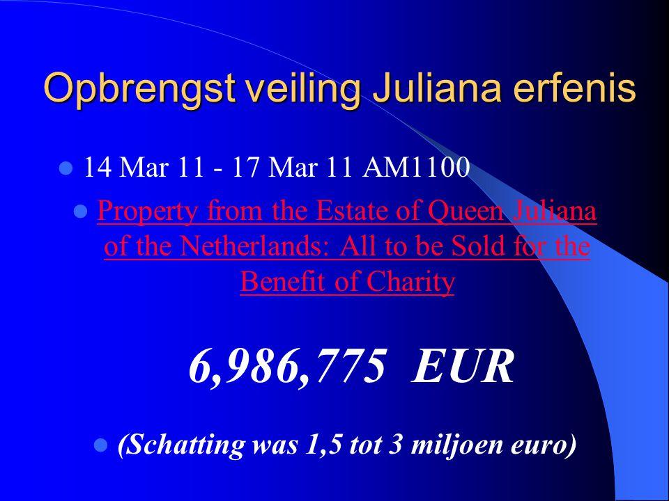 Opbrengst veiling Juliana erfenis