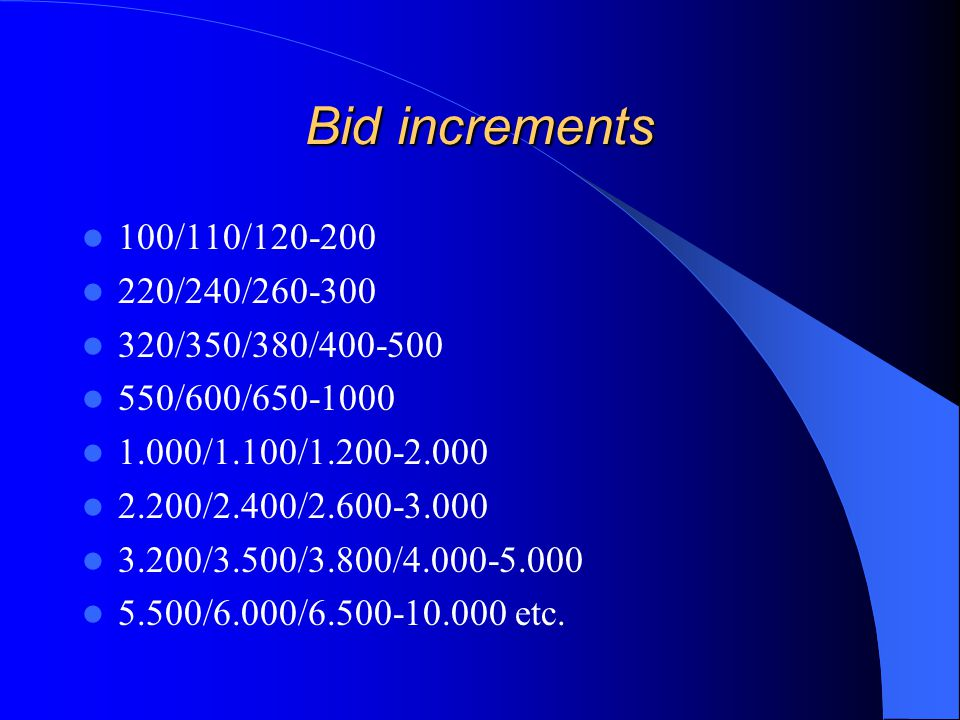 Bid increments 100/110/120-200 220/240/260-300 320/350/380/400-500