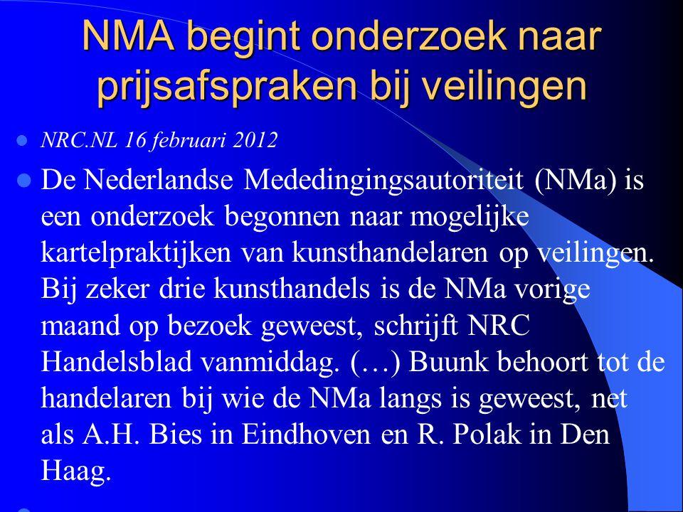 NMA begint onderzoek naar prijsafspraken bij veilingen