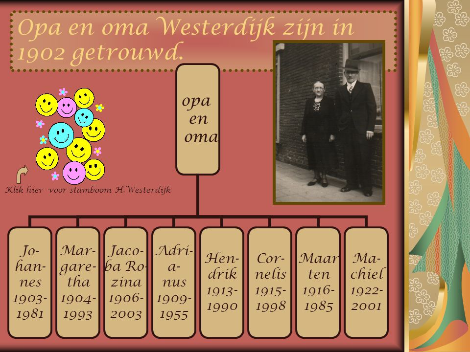 Opa en oma Westerdijk zijn in 1902 getrouwd.