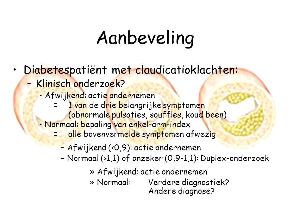 Aanbeveling Diabetespatiënt met claudicatioklachten: