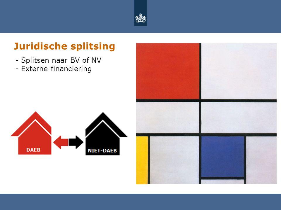 Juridische splitsing Splitsen naar BV of NV Externe financiering