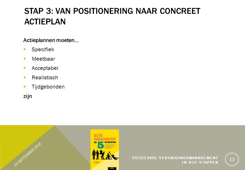 Stap 3: Van positionering naar concreet actieplan