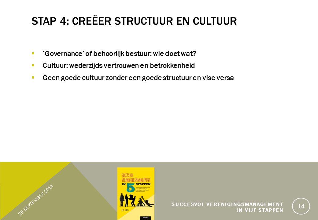 Stap 4: Creëer structuur en cultuur