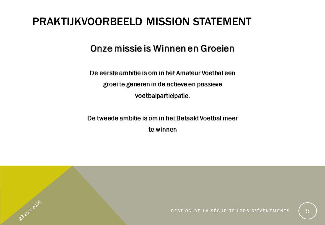 PRAKTIJKVOORBEELD MISSION STATEMENT