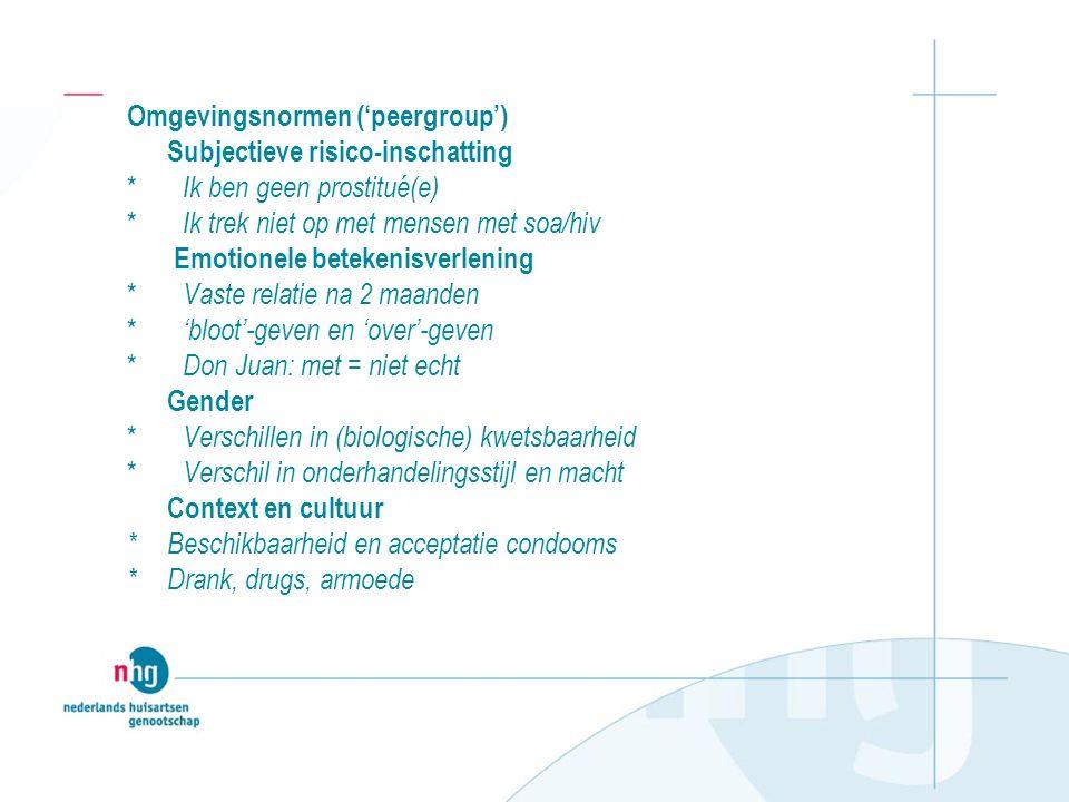 Omgevingsnormen ('peergroup')