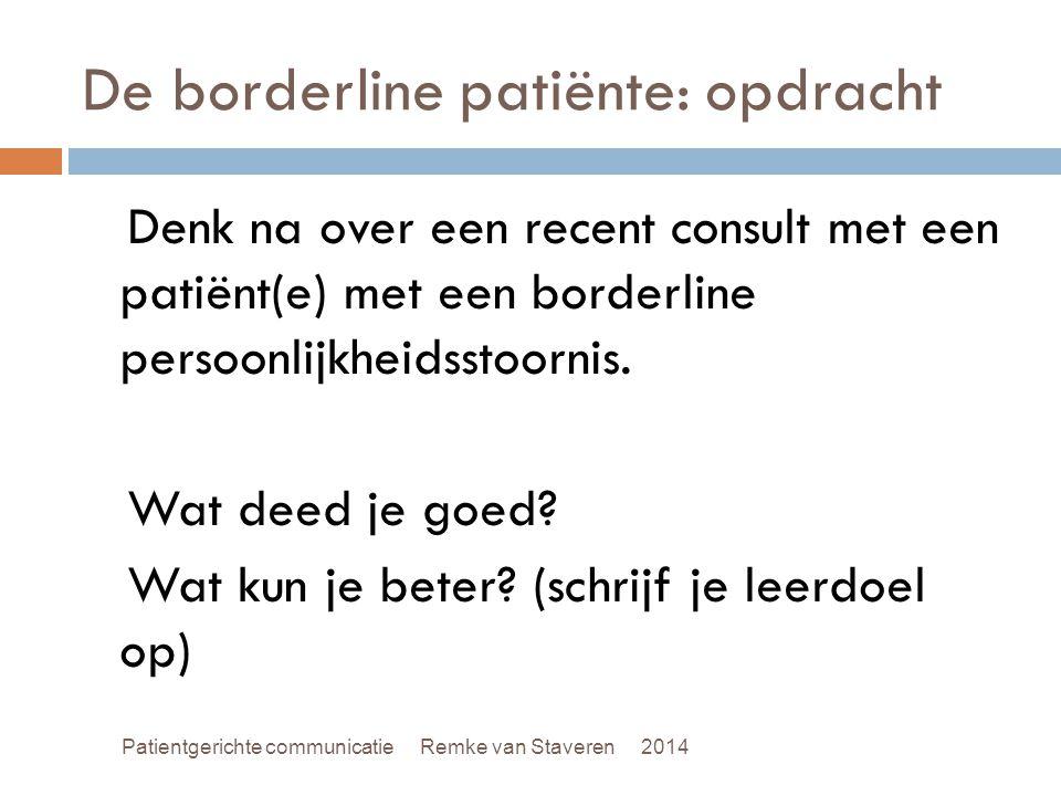 De borderline patiënte: opdracht