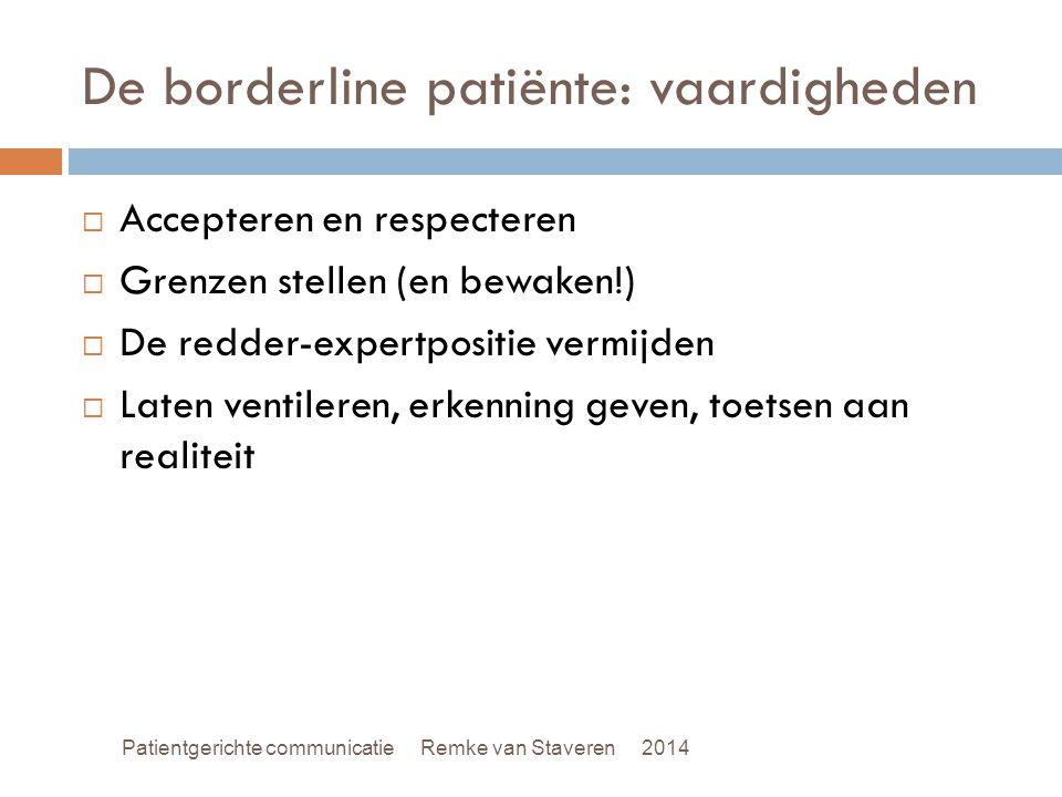 De borderline patiënte: vaardigheden