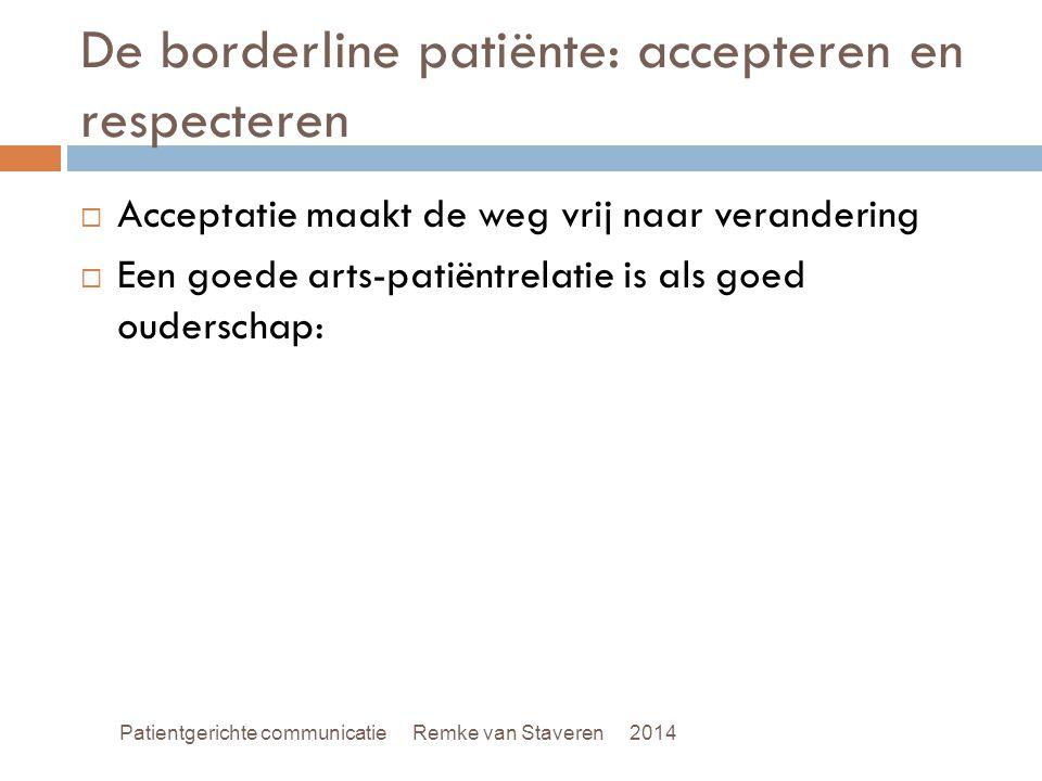 De borderline patiënte: accepteren en respecteren