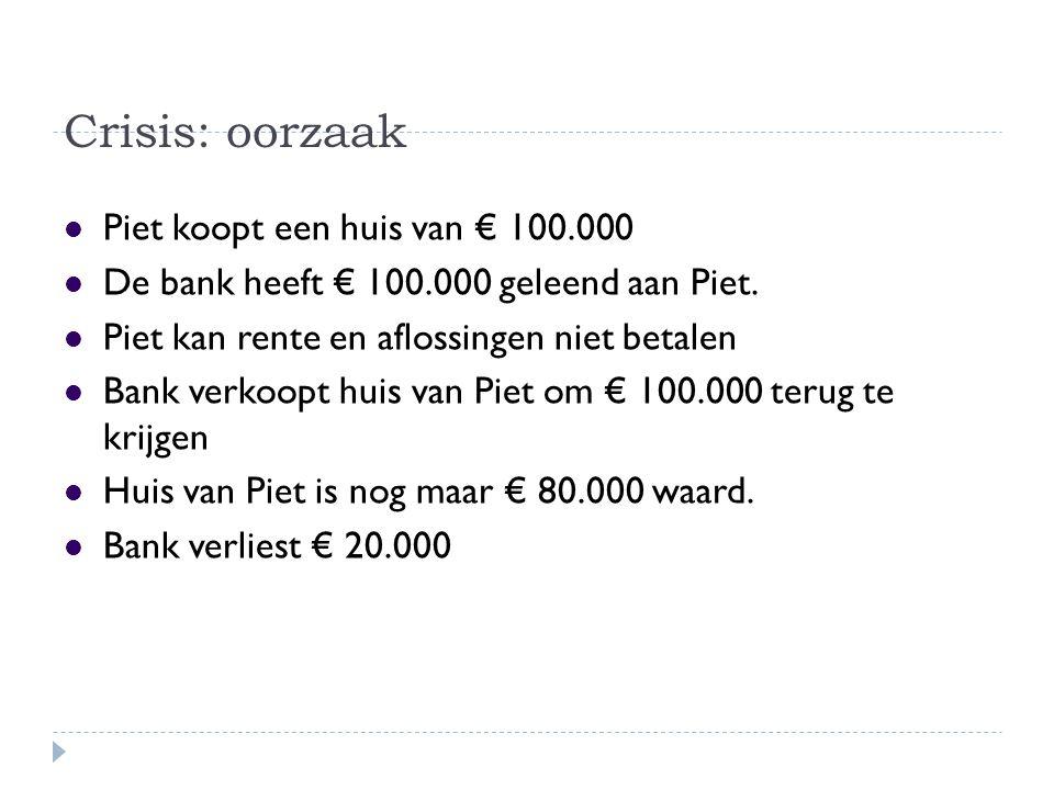 Crisis: oorzaak Piet koopt een huis van € 100.000