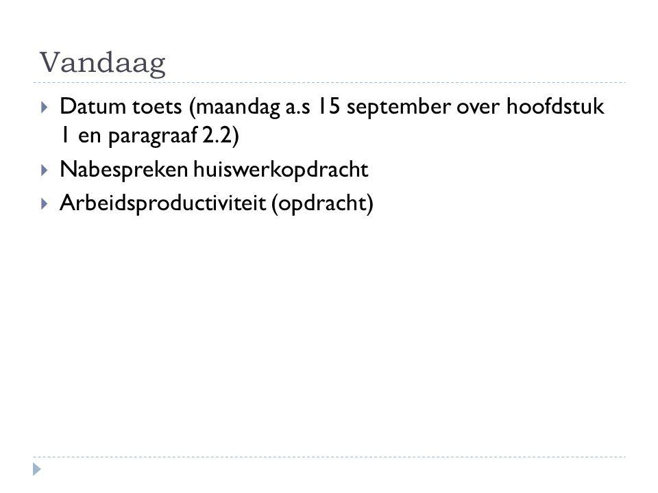 Vandaag Datum toets (maandag a.s 15 september over hoofdstuk 1 en paragraaf 2.2) Nabespreken huiswerkopdracht.