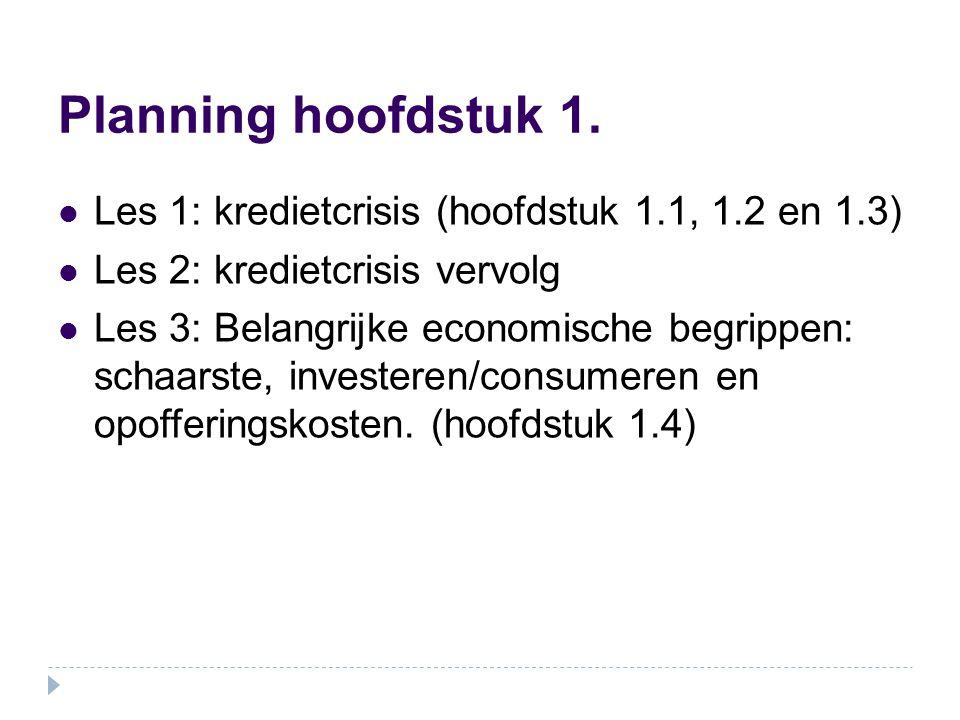 Planning hoofdstuk 1. Les 1: kredietcrisis (hoofdstuk 1.1, 1.2 en 1.3)