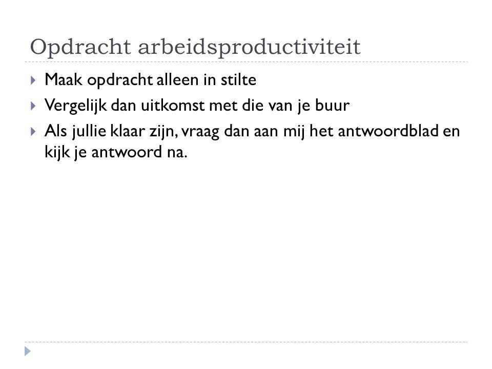 Opdracht arbeidsproductiviteit
