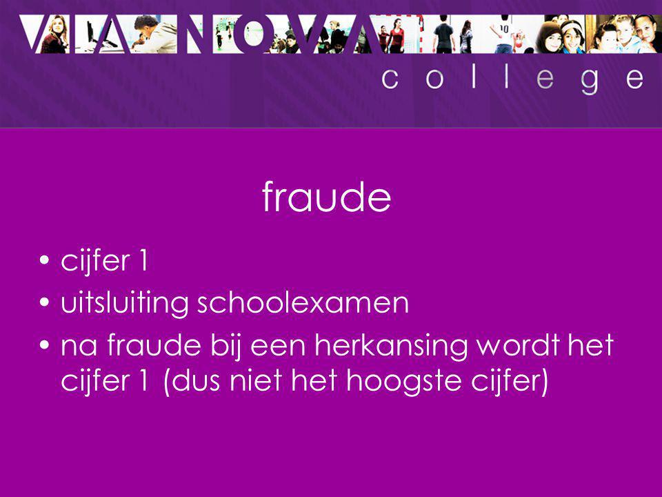 fraude cijfer 1 uitsluiting schoolexamen