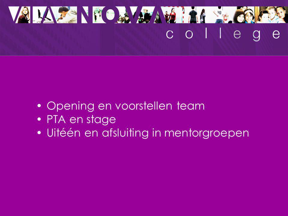 Programma Opening en voorstellen team PTA en stage