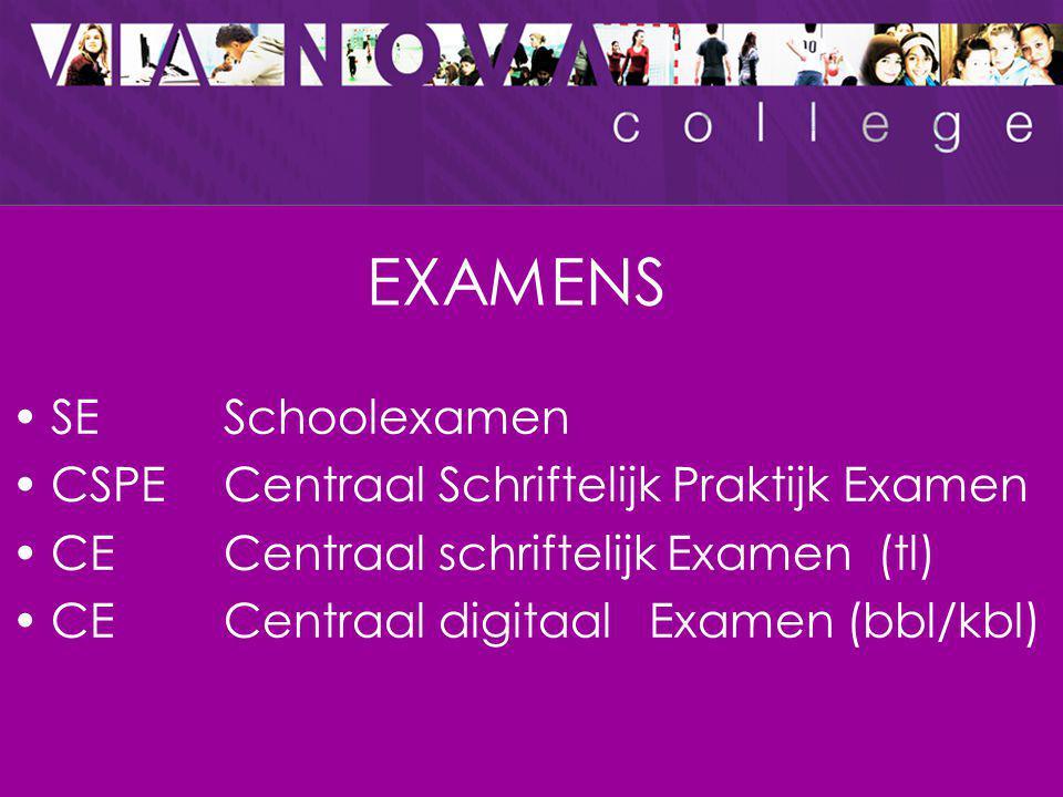 EXAMENS SE Schoolexamen CSPE Centraal Schriftelijk Praktijk Examen