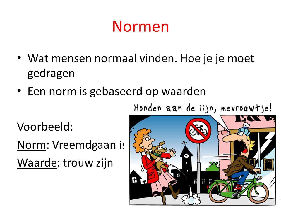 Normen Wat mensen normaal vinden. Hoe je je moet gedragen