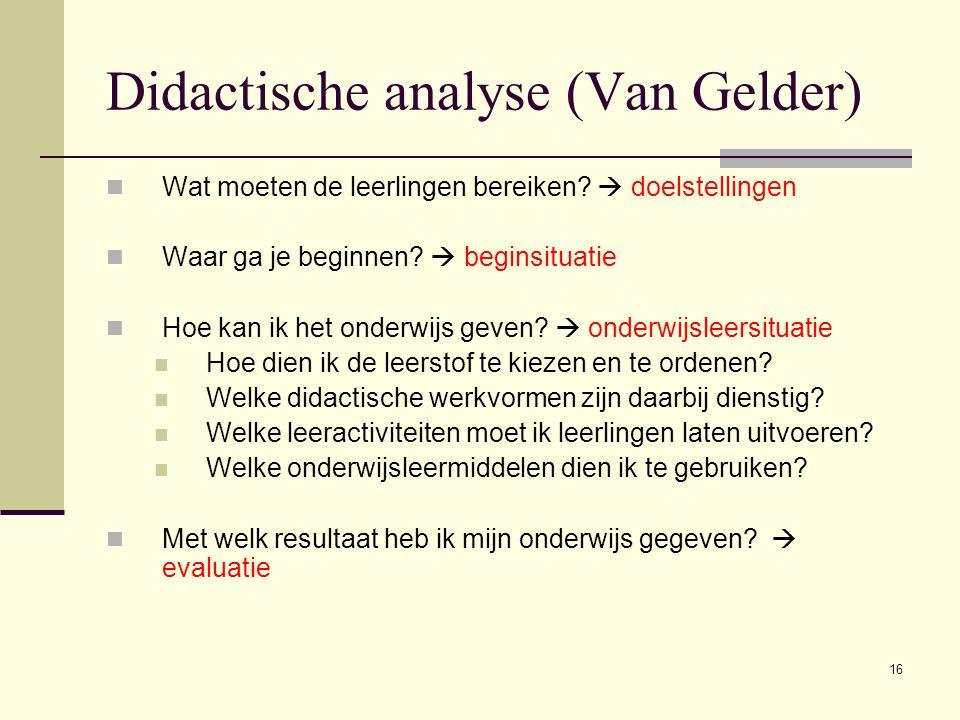 Didactische analyse (Van Gelder)