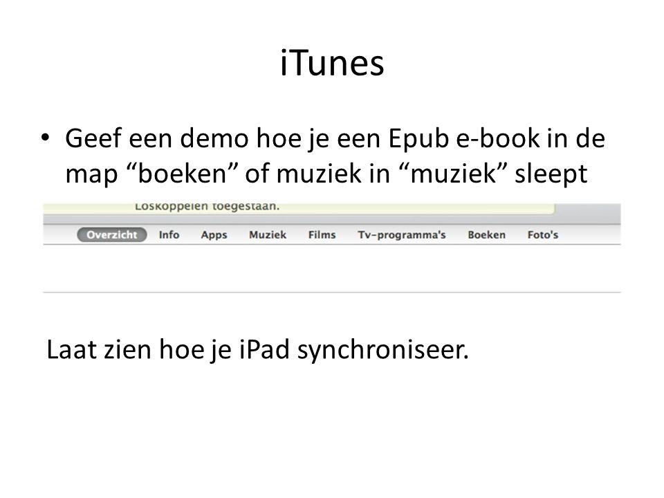 iTunes Geef een demo hoe je een Epub e-book in de map boeken of muziek in muziek sleept.
