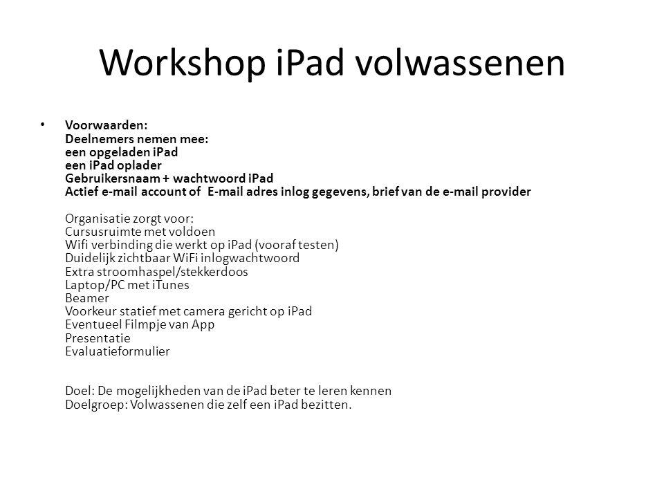 Workshop iPad volwassenen