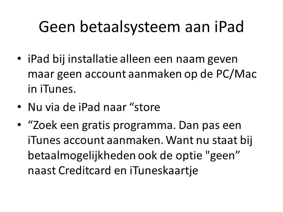 Geen betaalsysteem aan iPad