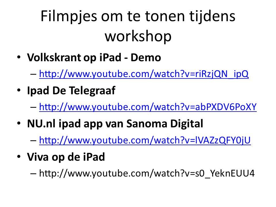 Filmpjes om te tonen tijdens workshop