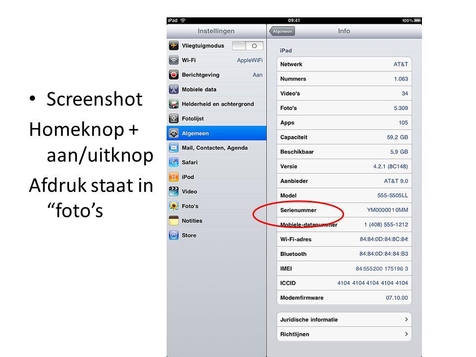 Screenshot Homeknop + aan/uitknop Afdruk staat in foto's