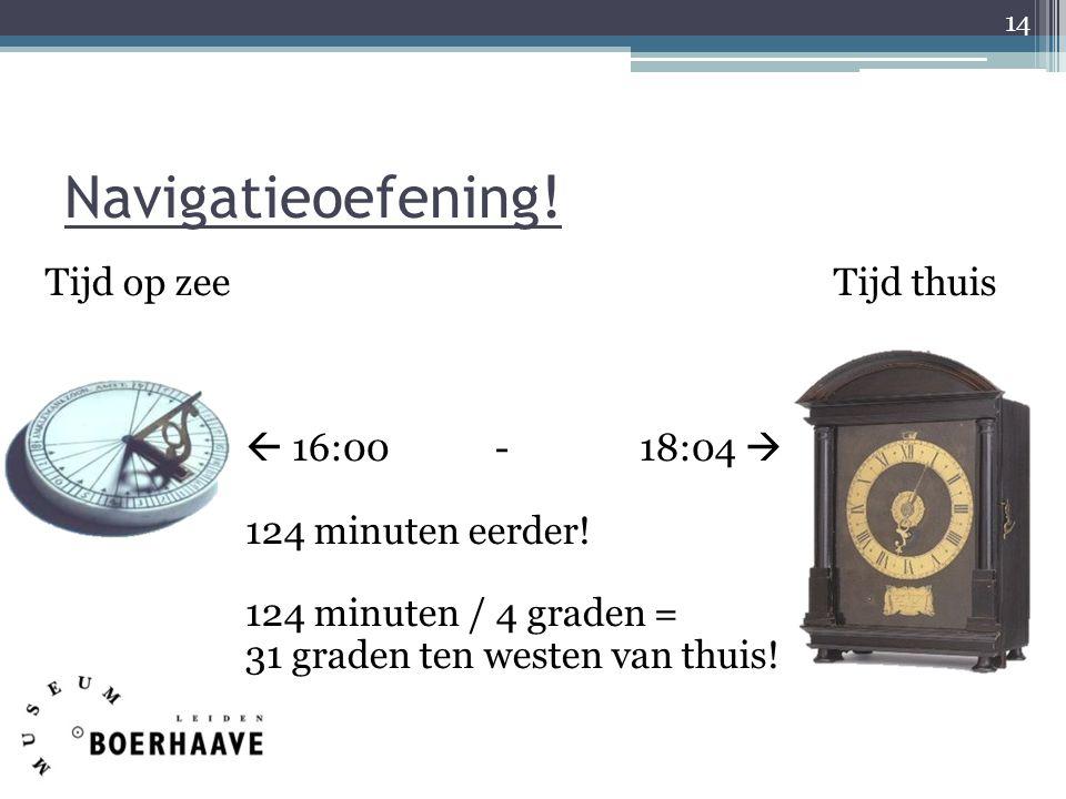 Navigatieoefening. Tijd op zee Tijd thuis  16:00 - 18:04  124 minuten eerder.