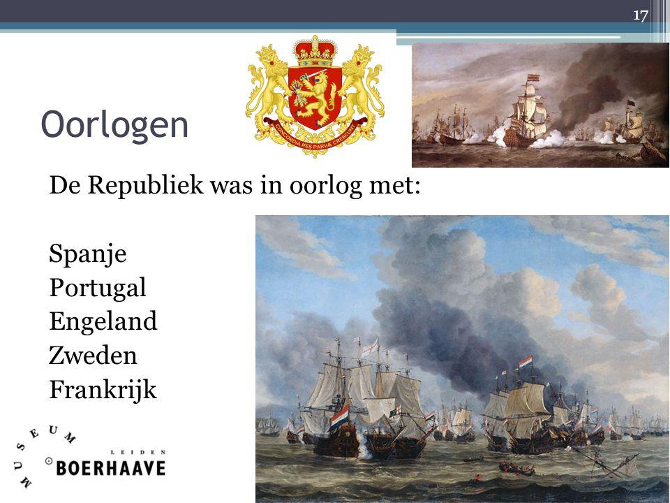 Oorlogen De Republiek was in oorlog met: Spanje Portugal Engeland Zweden Frankrijk