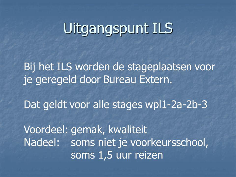 Uitgangspunt ILS Bij het ILS worden de stageplaatsen voor je geregeld door Bureau Extern. Dat geldt voor alle stages wpl1-2a-2b-3.