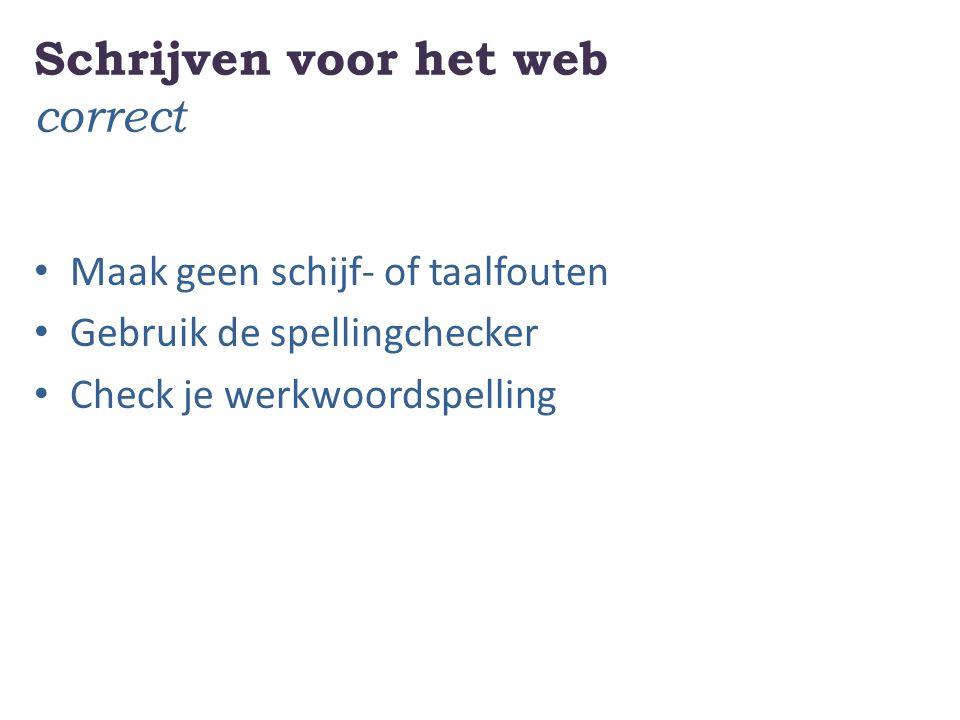 Schrijven voor het web correct