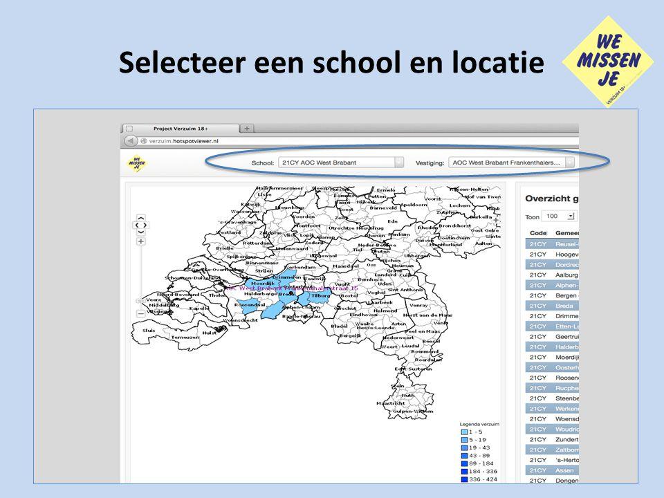 Selecteer een school en locatie
