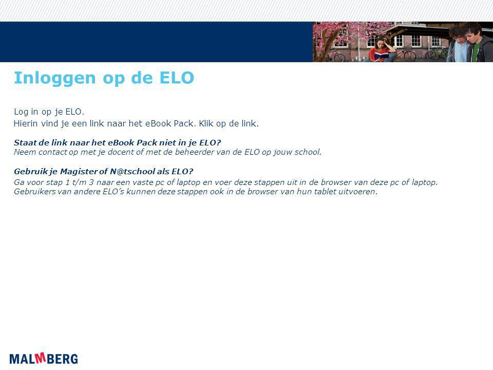 Inloggen op de ELO Log in op je ELO.