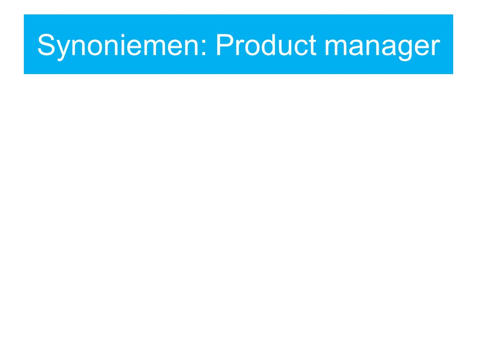 Synoniemen: Product manager