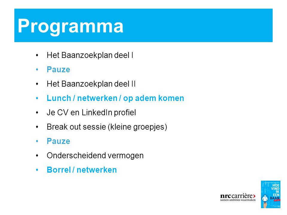 Programma Het Baanzoekplan deel I Pauze Het Baanzoekplan deel II